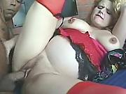 Hardcore blonde pregnant mom gets heavy interracial ass pounding