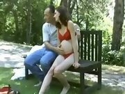 Men seduce pregnant chicks outdoor